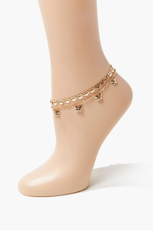 GOLD Heart & Butterfly Charm Layered Anklet, image 1