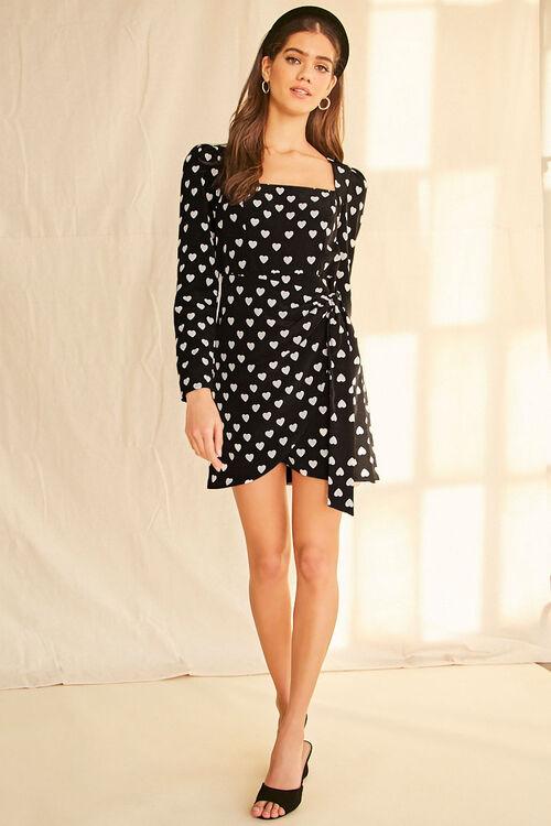 BLACK/WHITE Heart Print Mock Wrap Dress, image 4