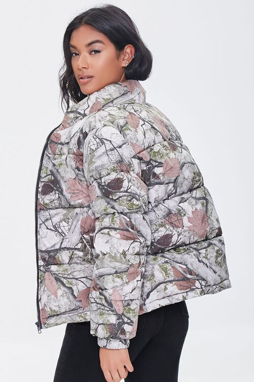 OLIVE/MULTI Forest Camo Print Puffer Jacket, image 2