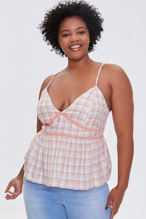 Plus Size Plaid Lace-Trim Cami, image 1