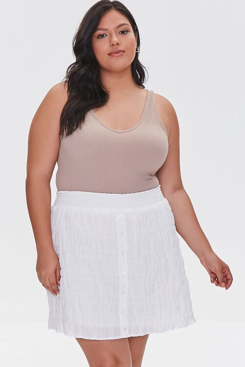 Plus Size Tiered Buttoned Mini Skirt, image 1