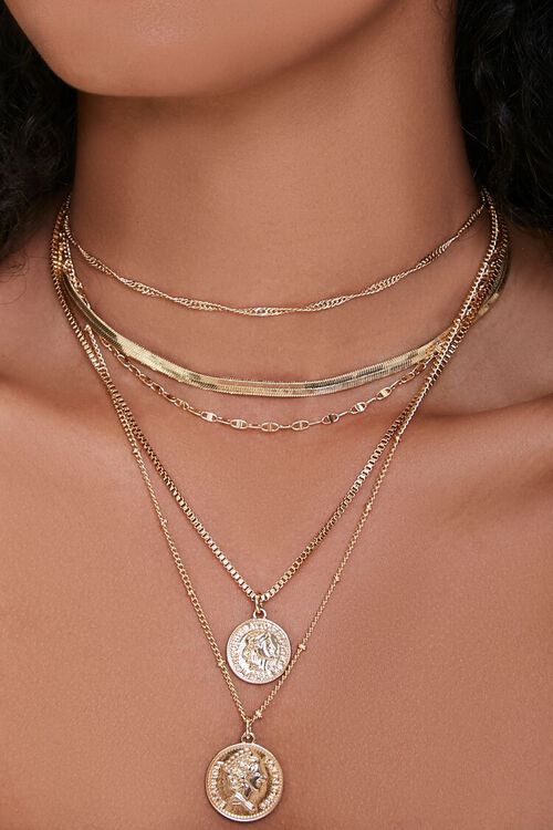 GOLD Ancient Coin Pendant Layered Necklace, image 1