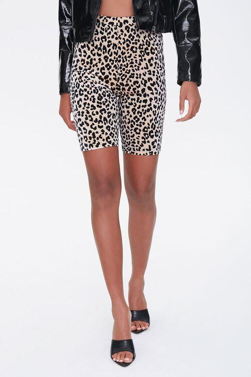 BROWN/BLACK Leopard Print Biker Shorts, image 2
