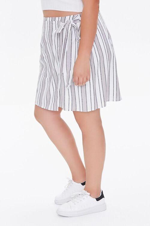 Plus Size Linen-Blend Striped Skirt, image 3