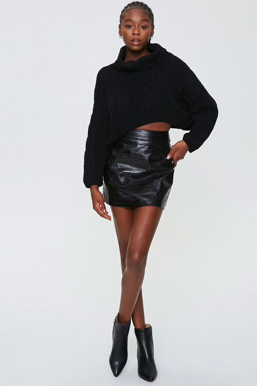Faux Croc Mini Skirt, image 5