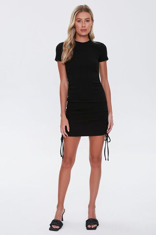 Ruched Drawstring T-Shirt Dress, image 4