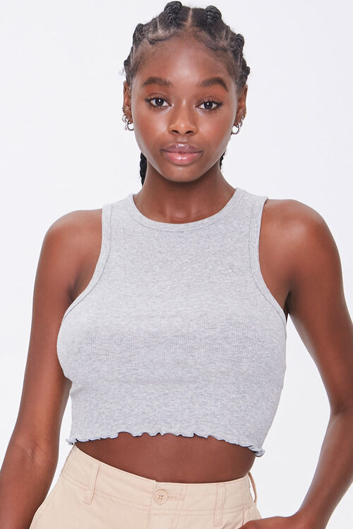 Ribbed Lettuce-Edge Cropped Tank Top, image 5