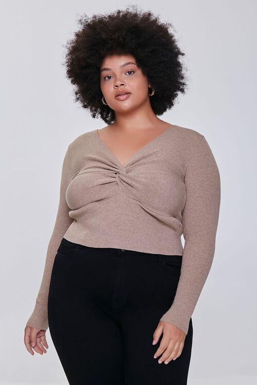 OATMEAL Plus Size Twisted Sweater, image 1