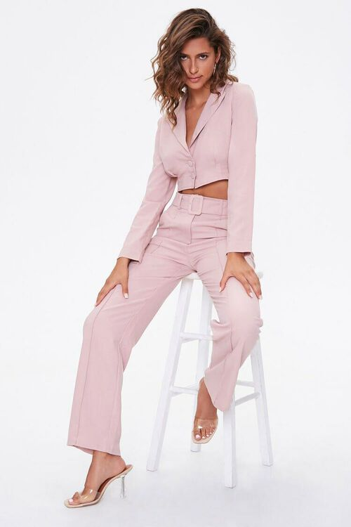 DUSTY PINK Single-Breasted Cropped Jacket, image 4