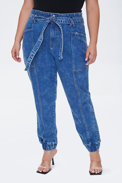Plus Size Belted Denim Joggers, image 2