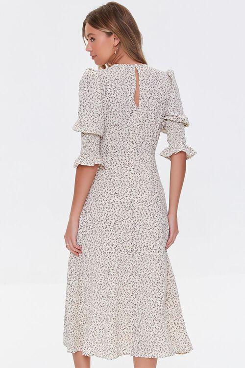 CREAM/DUSTY BLUE Recycled Leaf Print Slit Dress, image 3