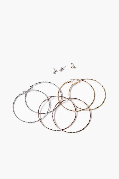 GOLD Twisted Hoop & Stud Earring Set, image 1