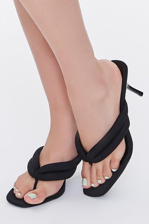BLACK Quilted Thong-Toe Heels, image 1