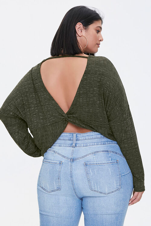 Plus Size Ribbed Twist-Back Top, image 3