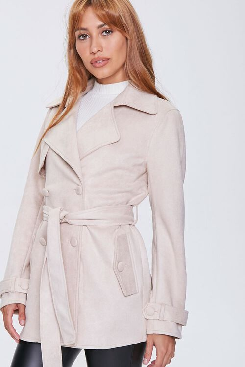 Faux Suede Double-Breasted Jacket, image 1