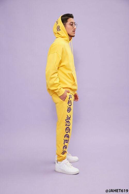 YELLOW/PURPLE Lakers Graphic Fleece Joggers, image 1