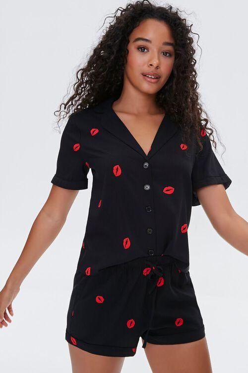 Lipstick Kiss Print Shirt & Shorts Pajama Set, image 1