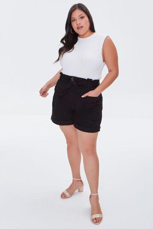 Plus Size Cuffed Tie-Belt Shorts, image 5