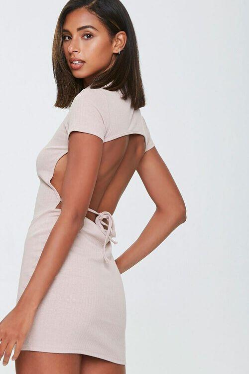 TAUPE Ribbed Open-Back Mini Dress, image 1