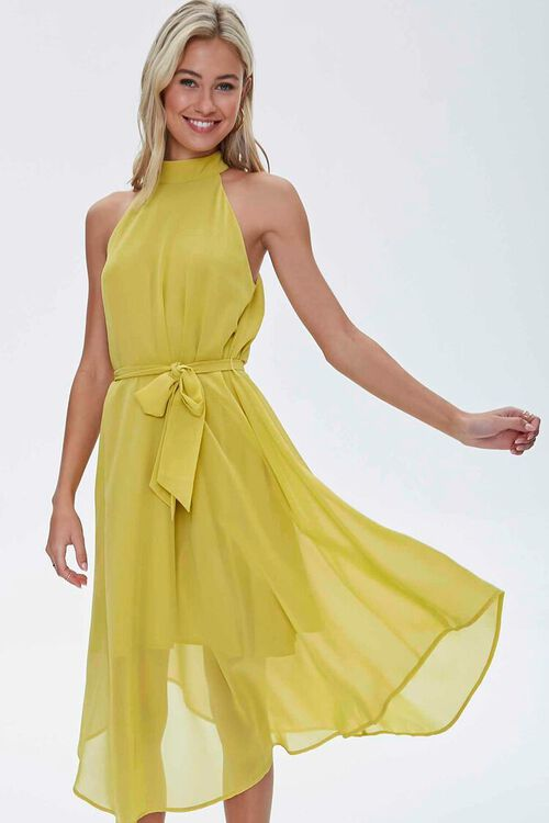 Mock Neck Tie-Waist Dress, image 1