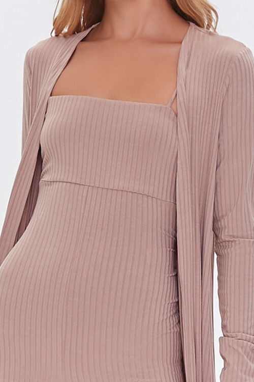 TAUPE Ribbed Knit Romper & Duster Cardigan Set, image 5