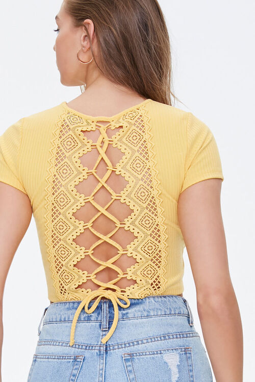 Ribbed Crochet Lace-Up Top, image 3