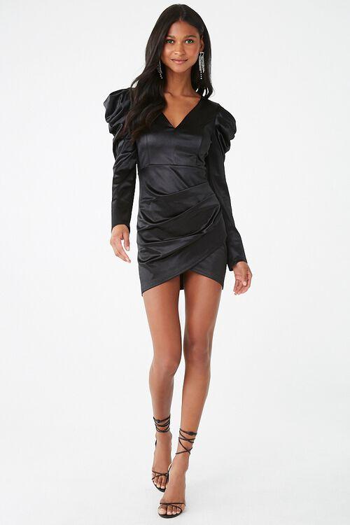 Satin Ruched Mini Dress, image 4