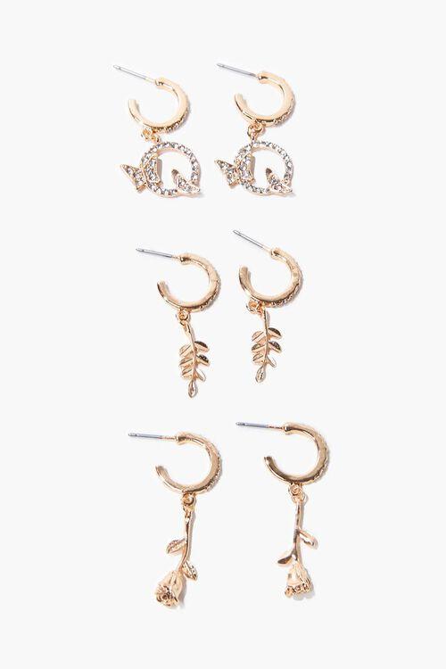 Rose Charm Hoop Earring Set, image 1