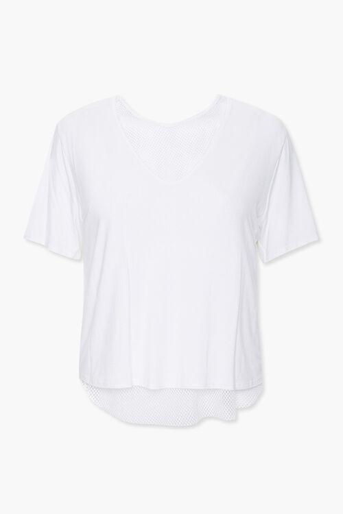 WHITE Plus Size Active Mesh-Trim Tee, image 1