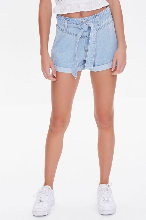 Tie-Belt Denim Shorts, image 2