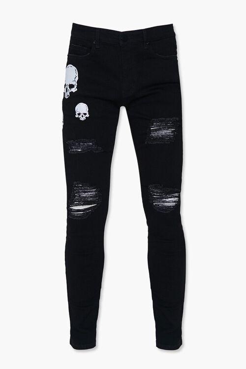 Skull Graphic Skinny Jeans, image 1
