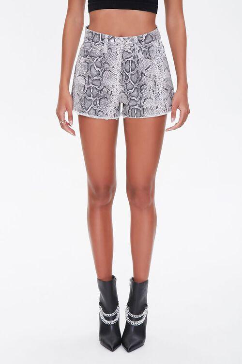 Snakeskin Print Denim Shorts, image 2