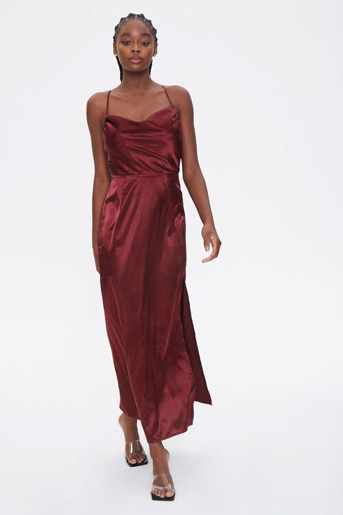 Satin Cowl Neck Maxi Dress, image 2