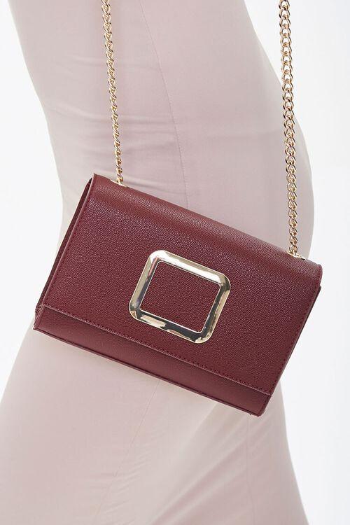 BURGUNDY Flap-Top Crossbody Bag, image 3