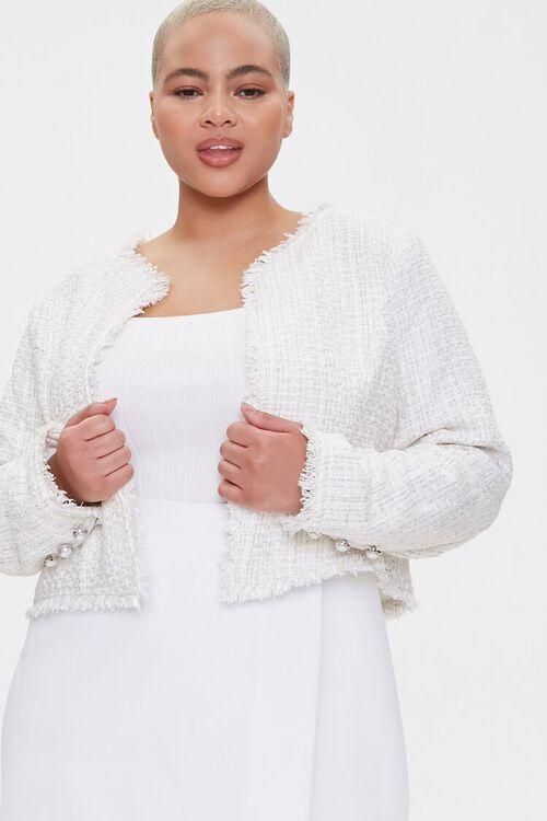 Plus Size Distressed Tweed Blazer, image 1