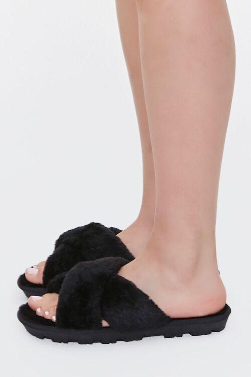 Faux Fur Crisscross Slippers, image 2