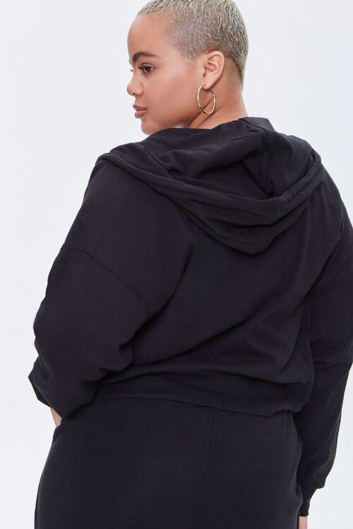 BLACK Plus Size Zip-Up Hoodie, image 3