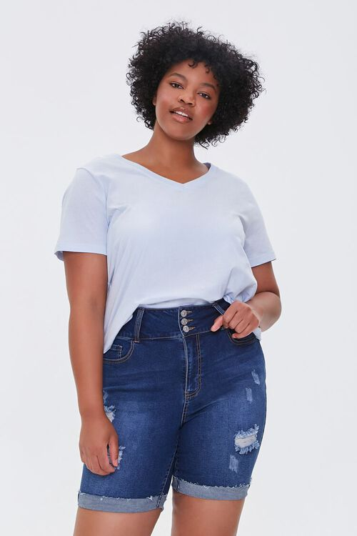 Plus Size Denim Bermuda Shorts, image 1