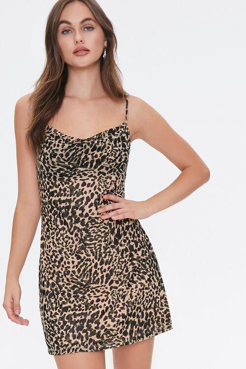 TAN/BLACK Cheetah Print Cowl Dress, image 1