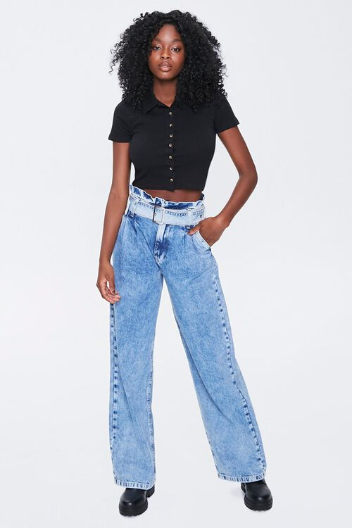 BLACK Button-Front Cropped Shirt, image 4
