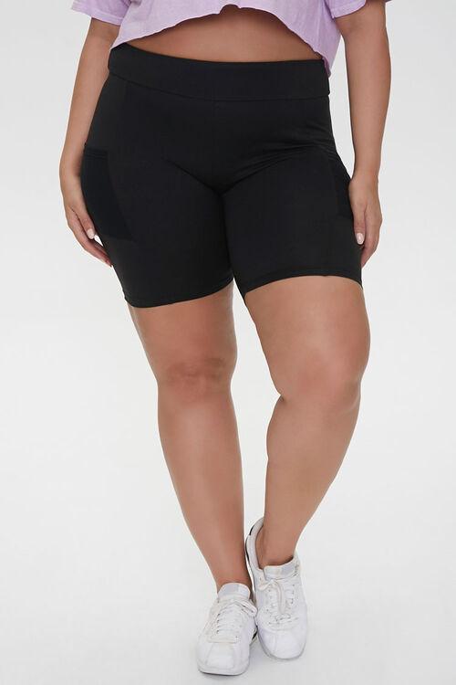 Plus Size Mesh-Pocket Bike Shorts, image 2