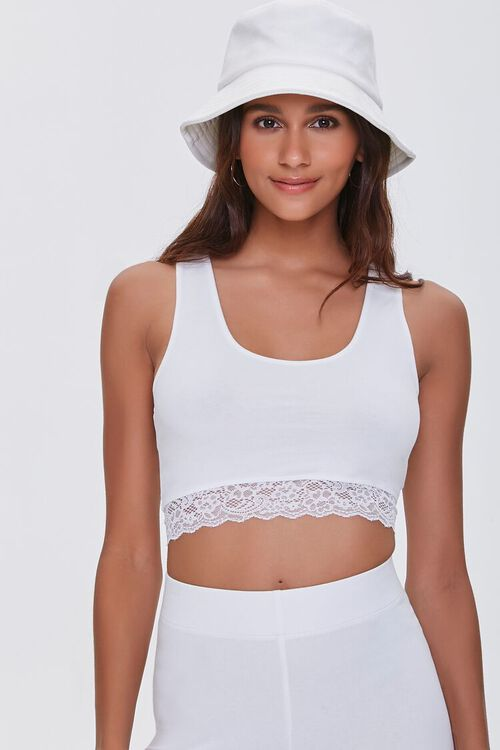 Lace-Trim Cropped Tank Top, image 1