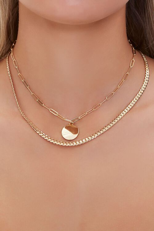 GOLD Disc Pendant Layered Necklace, image 1