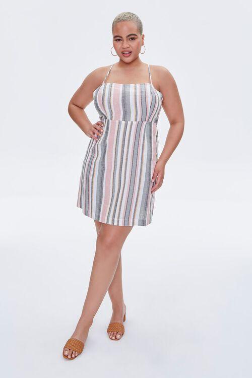 Plus Size Striped Mini Cami Dress, image 4