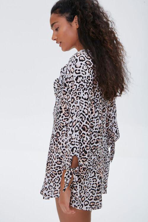 TAN/BLACK Leopard Print Kaftan Swim Cover-Up, image 2