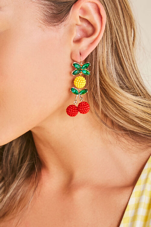Cherry & Pineapple Drop Earrings, image 1