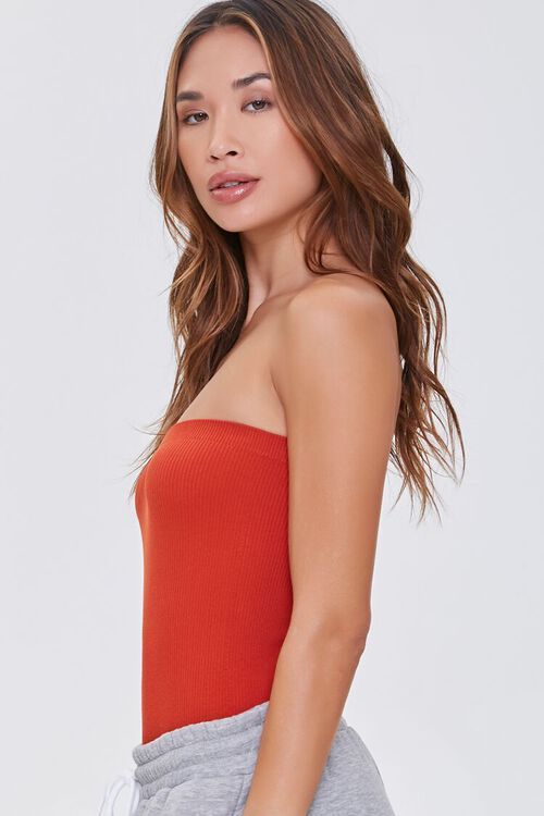 POMPEIAN RED  Seamless Ribbed Bodysuit, image 2