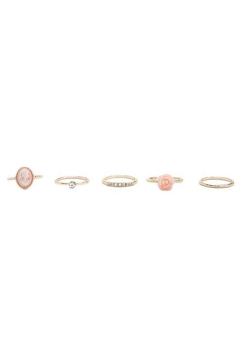 GOLD/PINK Rose & Portrait Ring Set, image 3