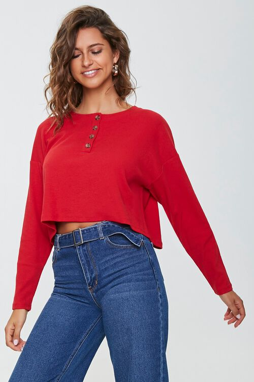 Cropped Henley Top, image 1