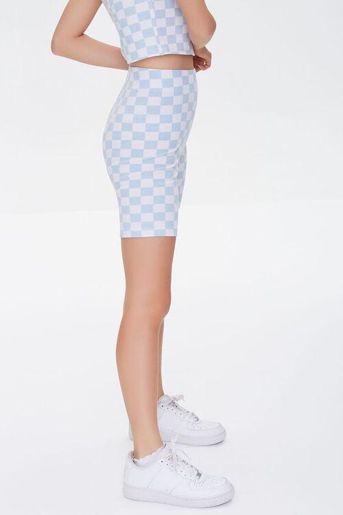 BLUE/WHITE Checkered High-Rise Biker Shorts, image 3